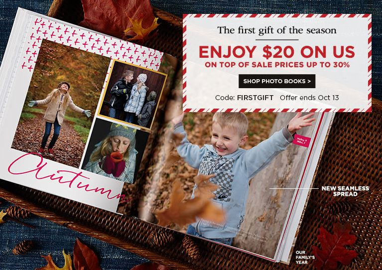 $20 off $20 Shutterfly Order plus Freebies