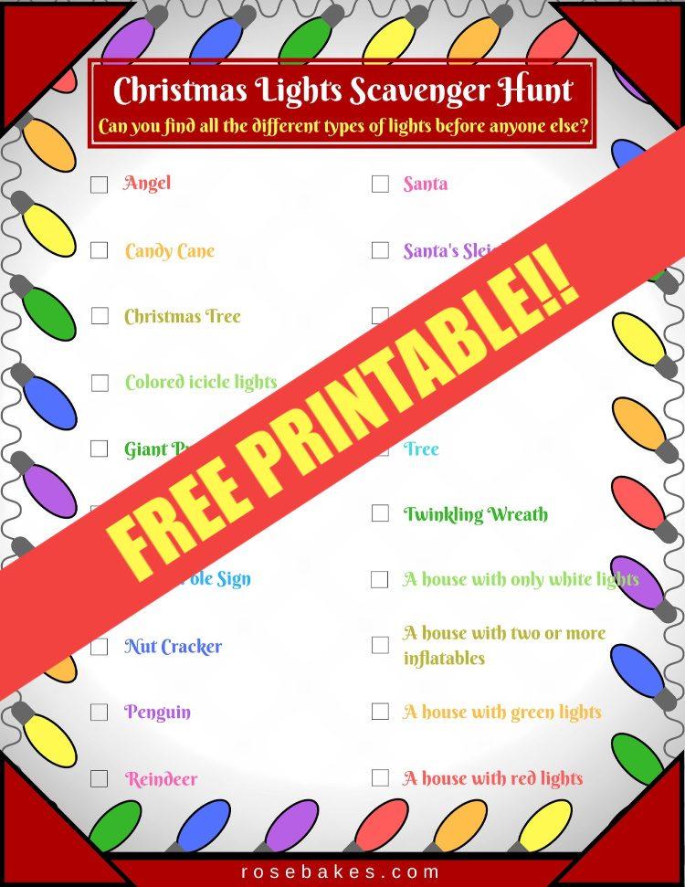 Christmas Lights Scavenger Hunt (Free Printable!)