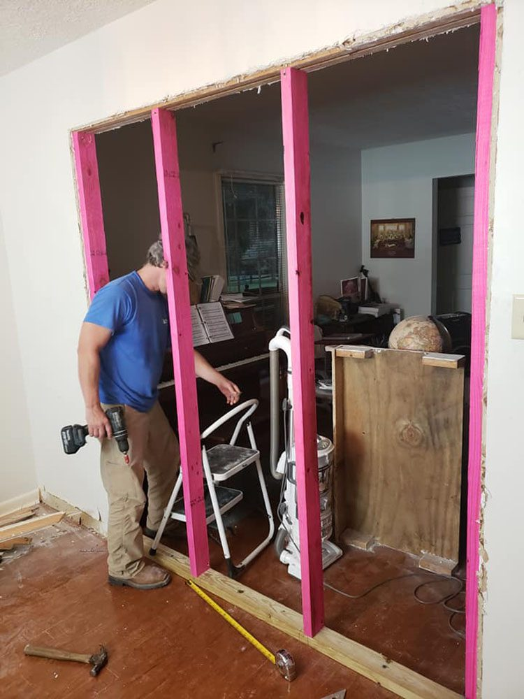 putting up studs to close doorway