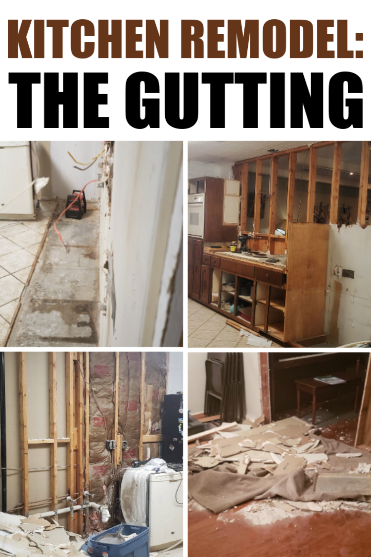 collage of pictures with gutted kitchen and text